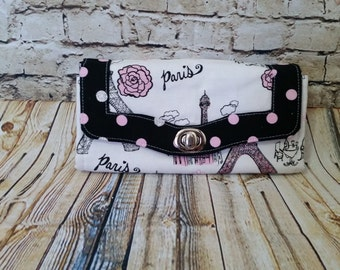 Paris Pink Eiffel Tower Polka Dot Necessary Wallet