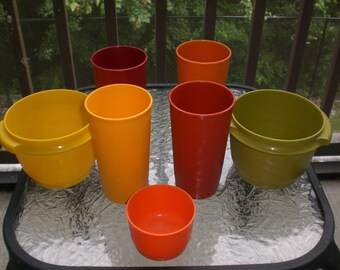 Vintage Tupperware Kitchen Drinking Tumbler and Containers Autumn Harvest Lot x7
