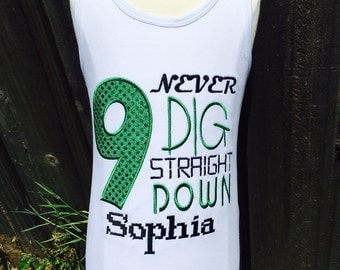 NEVER DIG STRAIGHT Down-Personalized Embroidered Bodysuit or T-shirt