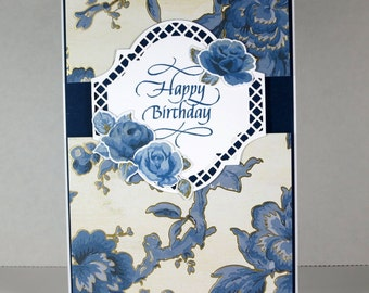 Vintage Rose Happy Birthday Card in Blue and Gold