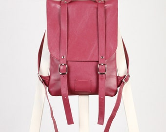 Сrimson leather backpack rucksack / To order / Leather backpack / Leather rucksack / Womens backpack / Christmas Gift