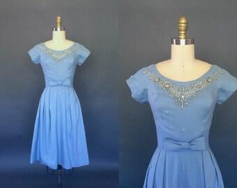 Starshine dress | vintage 1950s Frederick's of Hollywood dress | 50s baby blue rhinestone pinup dress