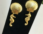 SALE Golden Seahorse and Shell Post Earrings