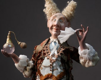 The Royal Perfumer. One of a Kind Hand Sculpted Clay and Paper Doll/