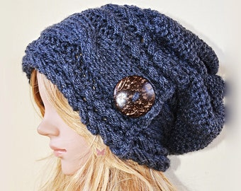 Slouchy cable style fashion beanie hat with button - GRANNITO (or Choose Color) - baggy slouch- Medium thickness & extra warm