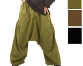 Harem Pants with pockets -  Aladdin Pants - Harem Trousers - Yoga Pants - Long - L - XL