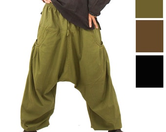 Harem Pants with pockets -  Aladdin Pants - Harem Trousers - Yoga Pants - Long - L - XL
