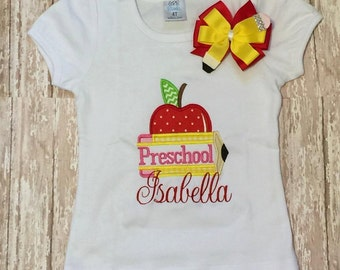 personalized preschool back to school pencil embroidered shirt
