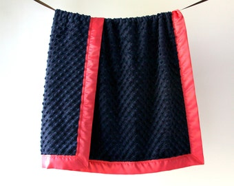 Baby Blanket, Navy Minky Dot with Coral Satin Trim