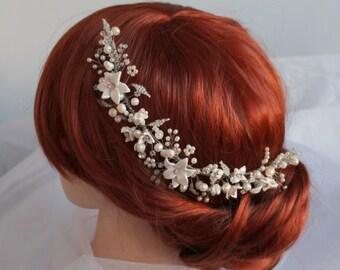 Freshwater Pearl Flower Swarovski Bridal Headpiece Hair Comb