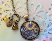 """You Are My Sunshine Sunflower Chalkboard Pendant Necklace with Coffee Cup Heart & Glass Flower 18"""" Chain Adoption Fundraiser #adoptwithus"""