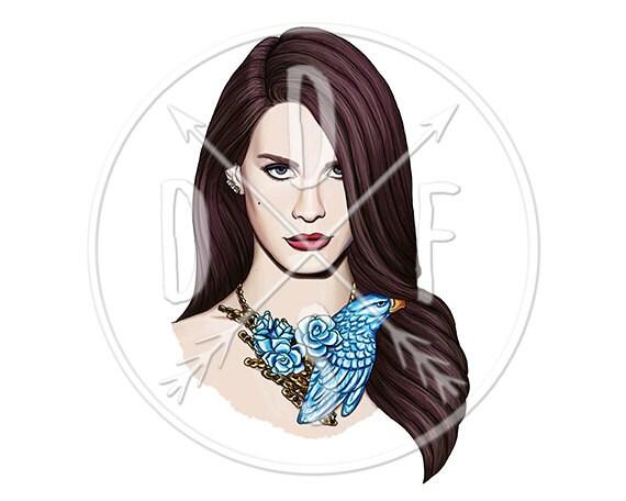 A0044 - Lana Del Rey, Blue Bird Necklace, Celebrity Art - Digital Print for Instant Download. Printable Illustration. PNG, JPG files 8x10''.
