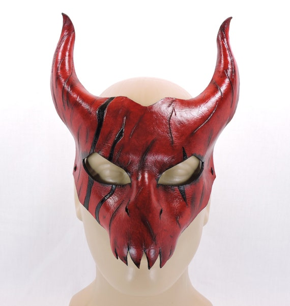 diablo mask scarred red leather halloween by hallowedhauntings. Black Bedroom Furniture Sets. Home Design Ideas