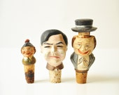 Vintage Collectible Wood Handcarved Head Corks Bottle Stoppers