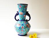 1930's Authentic Émaux de Longwy Vase - Faience Enamel Porcelain With Elephant Head Handles  - Made in France