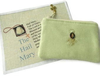 Rosary Pouch, Divine Mercy, Women's, Mint Green, Catholic, St. Faustina,