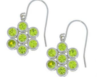 Peridot Bezel Round Dangle Earrings .925 Sterling Silver