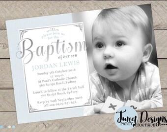 BOY BAPTISM Invitation, CHRISTENING Invitations, Boy Christening Invitation, Blue Baptism Invitation, Boy Photo Baptism Invitation