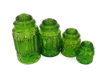 Vintage LE Smith Green Moon and Stars Cannister Set of 4