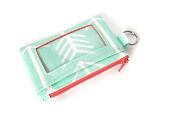 ID Wallet / Keychain Wallet / ID Holder in Mint and White Arrow Print with Coral Accents