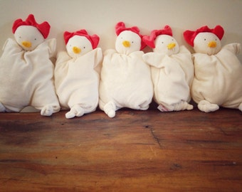Baby plush toy little Chicken, organic cotton and bamboo from papoum Papoum
