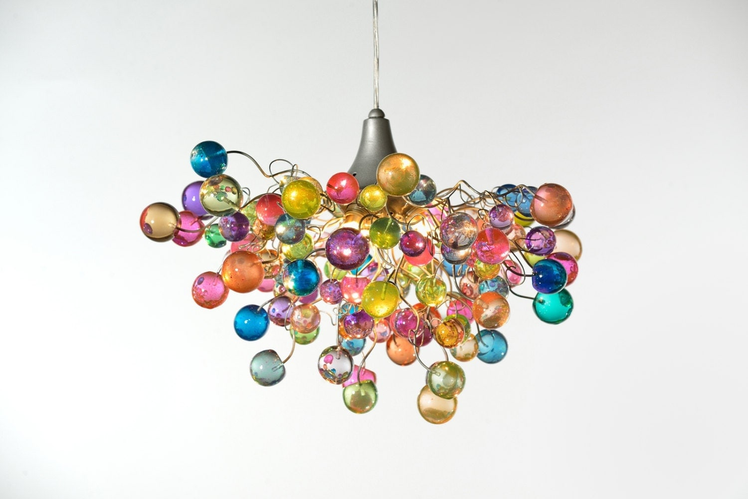zoom. Lighting hanging chandeliers with Pastel bubbles for girls