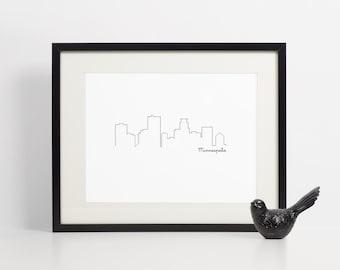 Minneapolis Skyline Art Print - 8x10 - Art Print - Instant Download