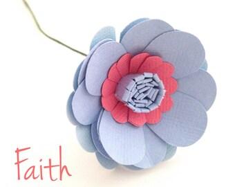"Layered ""Faith"" Paper Flower Stems x 5"