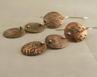 Copper dangle earrings with silver ear wire