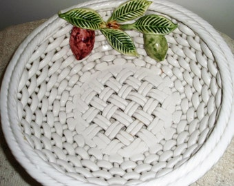 Woven Ceramic Bowl,Large White Fruit Bowl, HandMade in Portugal and artist signed, 10 inch round woven bowl with applied fruit and leaves