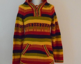Vintage Rainbow Striped Alpaca / Llama Hooded Pullover Sweater with Front Pockets - Women's S to M