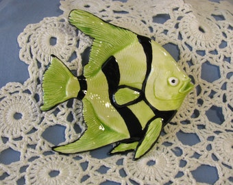 Angel Fish Ceramic Teabag Holder, Spoon Rest or Trinket Dish Green and Black Glazes
