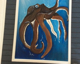 Octopus Painting in a solid wood frame