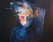 Modern Portrait, Original Painting, Contemporary Art, Blue Woman Art, Abstract, Stretched Canvas Wall Hanging