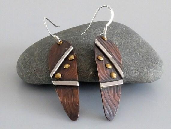 Mixed Metal Earrings, Copper Brass Silver Earrings, Artisan earrings, Teardrop Dangle Earrings, Rustic Earrings, Metalsmith Earrings