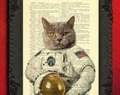 astronaut cat, Art Print, astronaut poster, cat space suit, space, dictionary print, home decor, book pages, wall art decor, dorm decor