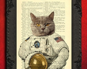 astronaut cat, Art Print, astronaut poster, cat space suit, space, dictionary print, home decor, book pages, wall art decor, dorm decor