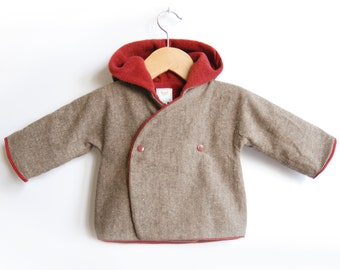 Handmade Hooded Baby Coat made of mixed wool. For toddlers and baby. Warm and cozy with fleece. Sizes NB -> 4T - LEGO R - Alua Liulé
