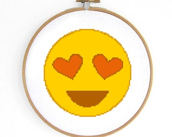 HeartEyes Emoji Cross Stitch Pattern