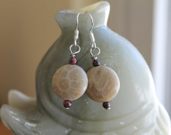 Cute Small Coin Coral Fossil with Red Garnet Earrings, sterling silver hook