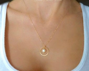 Gold Circle Necklace - Freshwater Pearl Necklace - Delicate Dainty Infinity Necklace - Small Pendant Necklace - Bridesmaid Bridal Jewelry