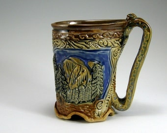Yosemite Mug, Carved, Hand-built Stoneware, Yosemite, Mountains, Eagle, Mug, 2nd  (#22)