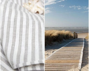 Linen beach blanket towel  / hammam towel/ spa towel/ Natural Stripe Stonewashed Linen  Towel sheet/   eco - friendly