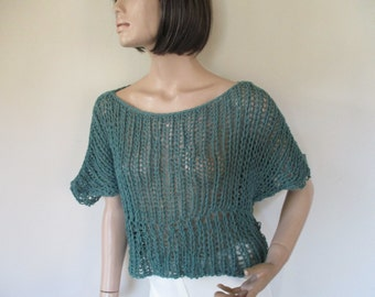 Green hand knitted blouse