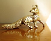 Vintage Brass Fox Figurine Fox Statue Woodland Animal Collectible Paperweight Rare