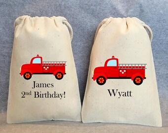"10 Fire Truck party, Fireman party, Fire truck birthday, fireman birthday, fire truck favor bags, red fire truck, fireman party, 4""x6"""