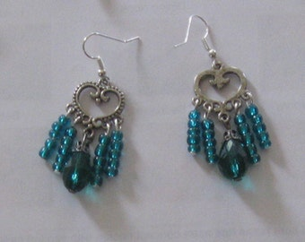 Turquoise Blue Heart Chandelier Earrings