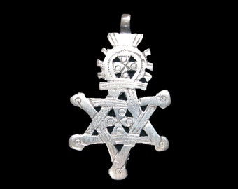Star of David Ethiopian Coptic Cross Pendant : Ethiopia Jewelry Beads