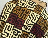 African KUBA Style Print Fabric--African Graphic Print Fabric--Brown, Dark Tan, & Cream Kuba Style Print--African Fabric by the HALF YARD