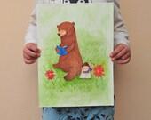 "Original ""One book a week""  illustration 21.6x30.7 cm/ 8,5x12,08 inch - Nursery art - Animal illustration for children - Original artwork"